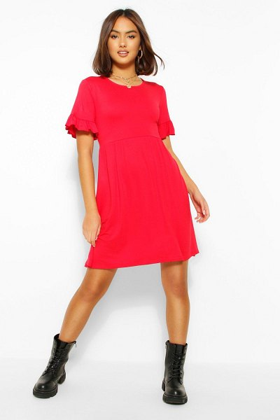 Boohoo Basic Frill Sleeve Smock Dress in red