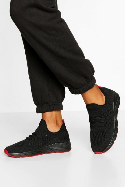 Boohoo Basic Knitted Sports Sneakers in black