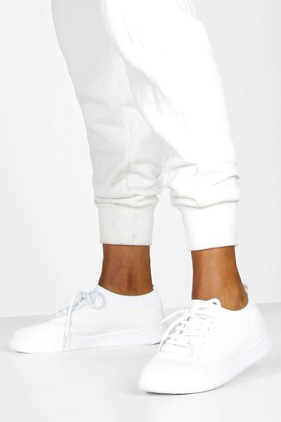 Boohoo Basic Lace Up Knitted Sneakers in white