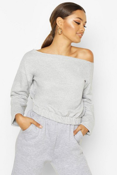 Boohoo Basic Slash Neck Drop Shoulder Sweat in grey marl