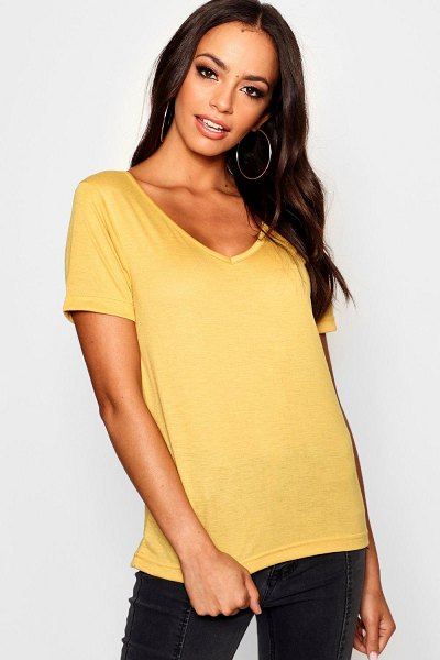 Boohoo Basic Super Soft V Neck T-Shirt in mustard
