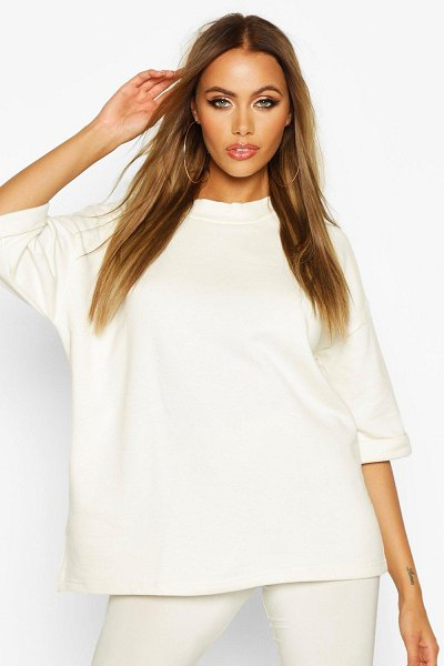 Boohoo Basic Turn Cuff Boxy Sweat in ecru