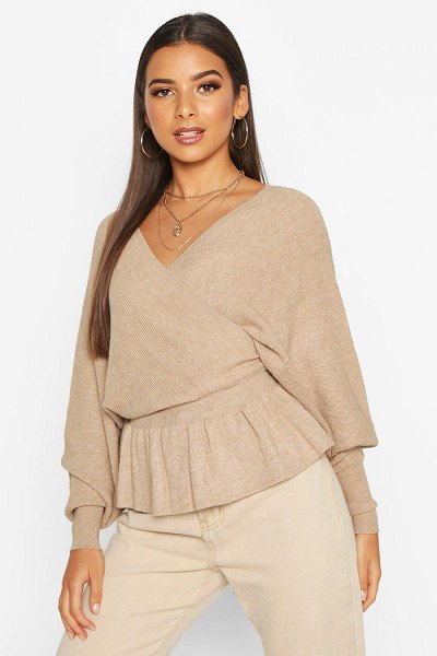 Boohoo Batwing Wrap Front Slouchy sweater in beige