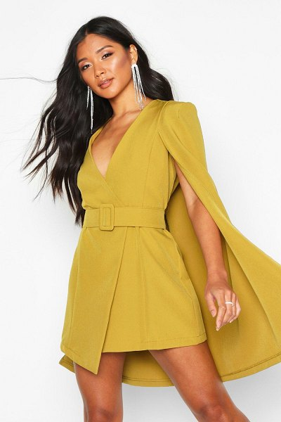Boohoo Belted Cape Detail Blazer Dress in chartreuse