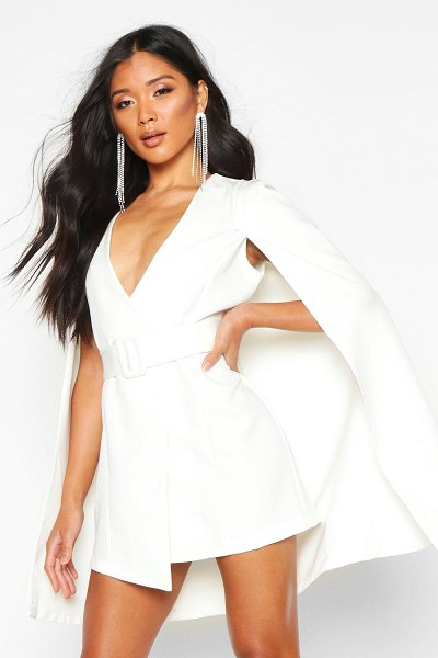 Boohoo Belted Cape Detail Blazer Dress in ivory