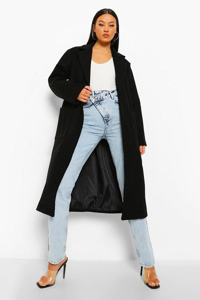 Boohoo Belted Detail Wool Look Maxi Coat in black