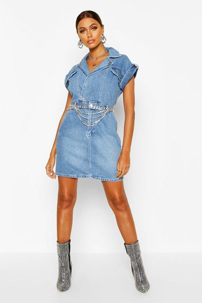 Boohoo Belted Double Breasted Denim Dress in indigo
