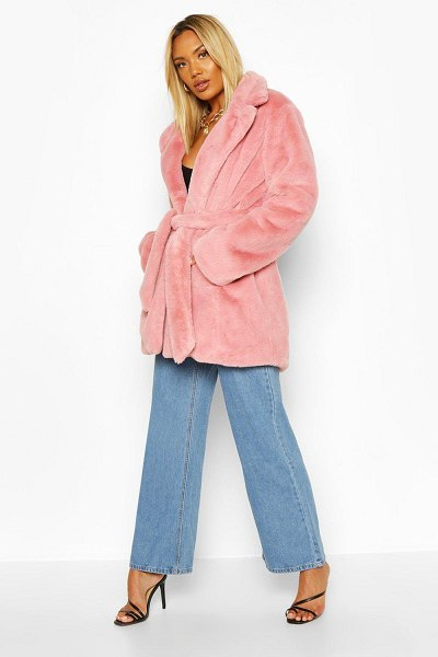 Boohoo Belted Faux Fur Coat in dusky pink
