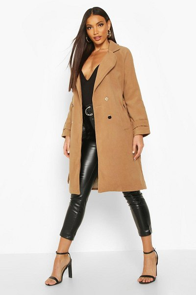 Boohoo Belted Military Double Breasted Trench Coat in camel