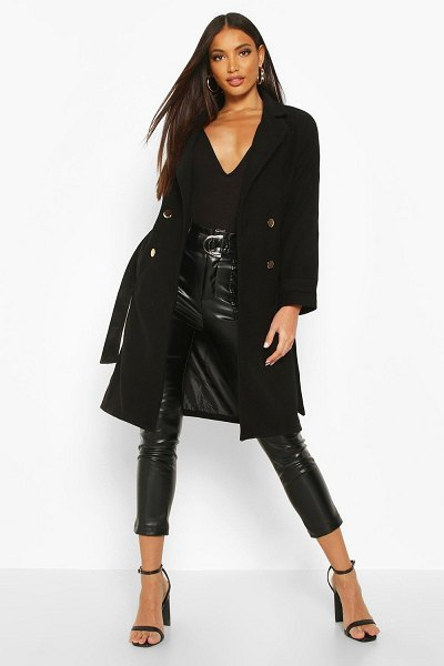 Boohoo Belted Military Double Breasted Trench Coat in black