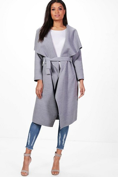 Boohoo Belted Waterfall Coat in grey
