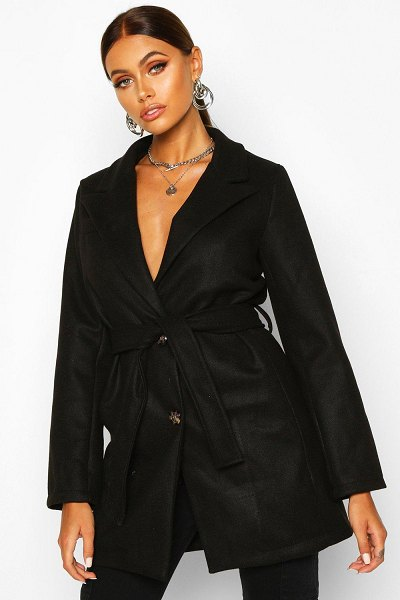 Boohoo Belted Wool Look Blazer in black