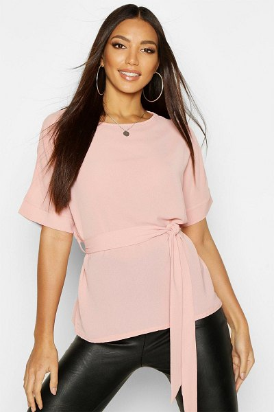 Boohoo Belted Woven Blouse in rose