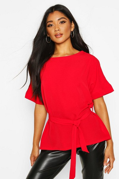 Boohoo Belted Woven Blouse in red