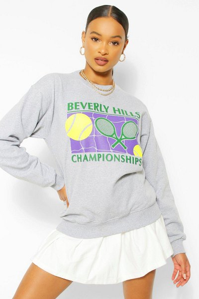 Boohoo Beverley Hills Tennis Sweater in grey marl