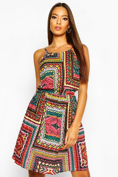 Boohoo Boho Tile Print Sundress in orange