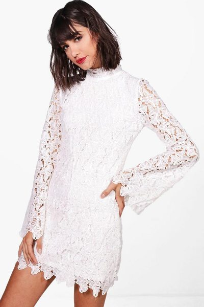 ee981b73c9c6 Boohoo Boutique Corded Lace Bodycon Dress in White | Shopstasy