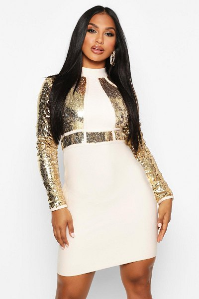 Boohoo Boutique Bandage High Neck Sequin Mini Dress in champagne