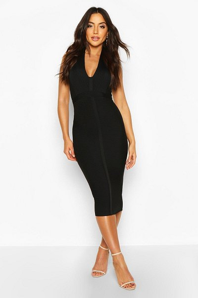 Boohoo Boutique Bandage Plunge Midi Dress in black
