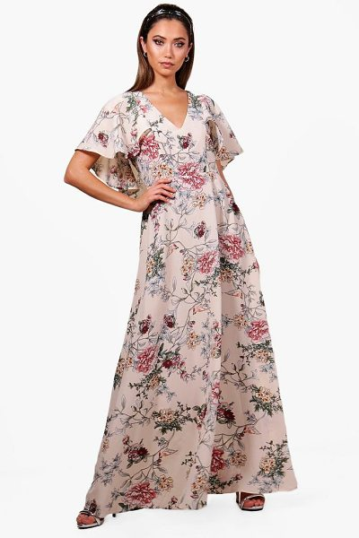 Boohoo. Boutique Mallorie Floral Cape Maxi Dress