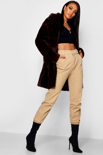 Boohoo Boutique Oversized Collar Faux Fur Coat in chocolate