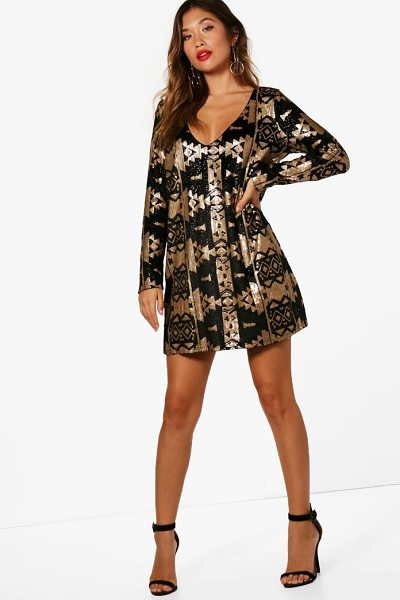ce1caccabc Boohoo Boutique Aztec Sequin Print Shift Dress in gold - Dresses are the  most-wanted