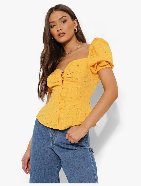 Boohoo Eyelet Puff Sleeve Button Through Top in yellow