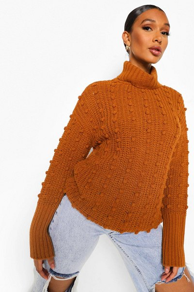 Boohoo Bubble Detail Roll Neck Sweater in chestnut