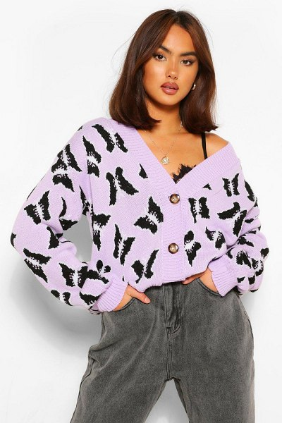 Boohoo Butterfly Print Crop Cardigan in lilac