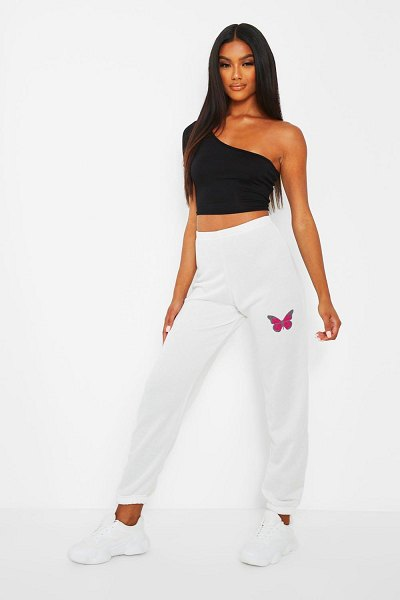 Boohoo Butterfly Print Joggers in white