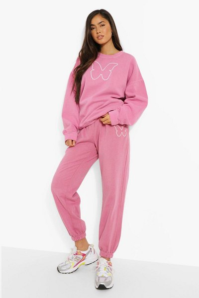 Boohoo Butterfly Print Sweatshirt And Jogger Set in pink