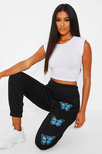 Boohoo Butterfly Thigh Print Joggers in black