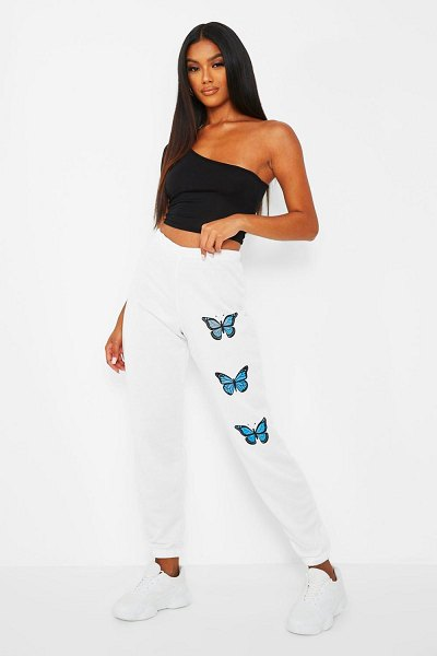 Boohoo Butterfly Thigh Print Joggers in white