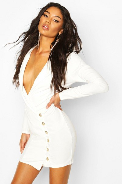 Boohoo Button Detail Blazer Dress in ivory