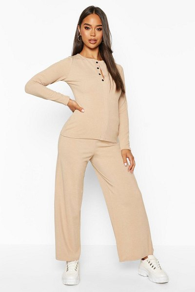 Boohoo Button Down Rib Top + Ankle Grazer Trouser Co-Ords in stone