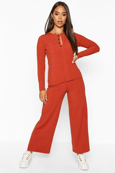 Boohoo Button Down Rib Top + Ankle Grazer Trouser Co-Ords in terracotta