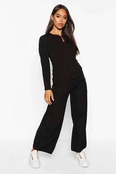Boohoo Button Down Rib Top + Ankle Grazer Trouser Co-Ords in black