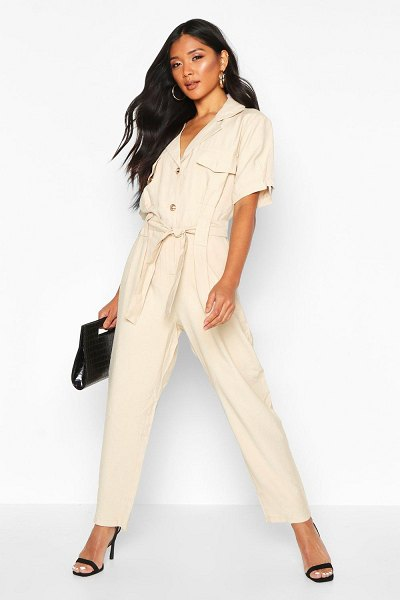 Boohoo Button Front Cargo Jumpsuit in sand
