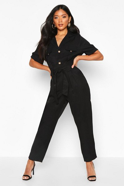 Boohoo Button Front Cargo Jumpsuit in black