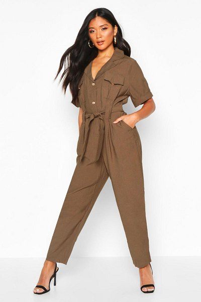 Boohoo Button Front Cargo Jumpsuit in khaki