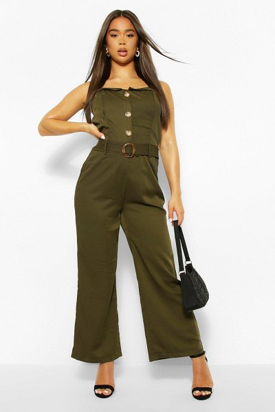 Boohoo Button Through Strappy Belted Wide Leg Jumpsuit in khaki