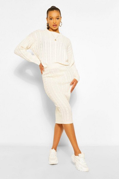 Boohoo Cable Knit Midi Skirt Co-Ord in ivory