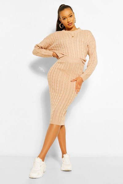 Boohoo Cable Knit Midi Skirt Co-Ord in biscuit