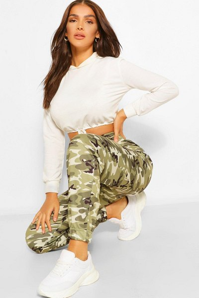 Boohoo Camo Oversized Sweat Joggers in khaki