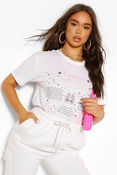 Boohoo Cancer Horoscope Graphic T-Shirt in white