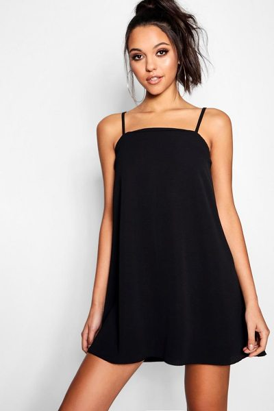 fe7e2aae864 Boohoo Square Neck Woven Strappy Cami Dress in black - Dresses are the most- wanted