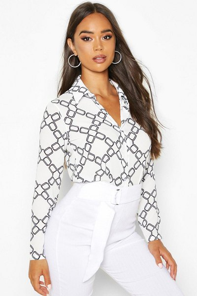 Boohoo Chain Print Shirt in white