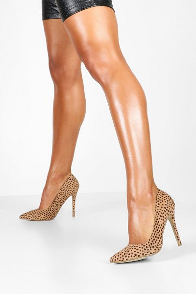 Boohoo Cheetah Print Pointed Toe Stiletto Heel Courts in natural