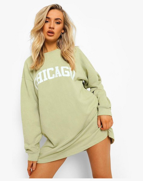 Boohoo Chicago Slogan Washed Sweater Dress in khaki