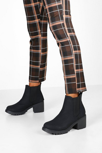 Boohoo Chunky Cleated Chelsea Boots in black